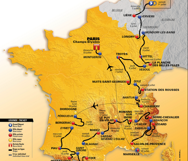 This years Tour de France route